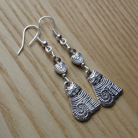 Grey Striped Cheshire Cat Charm Earrings - Gift for Her