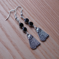 Black Striped Cheshire Cat Charm Earrings - Gift for Her