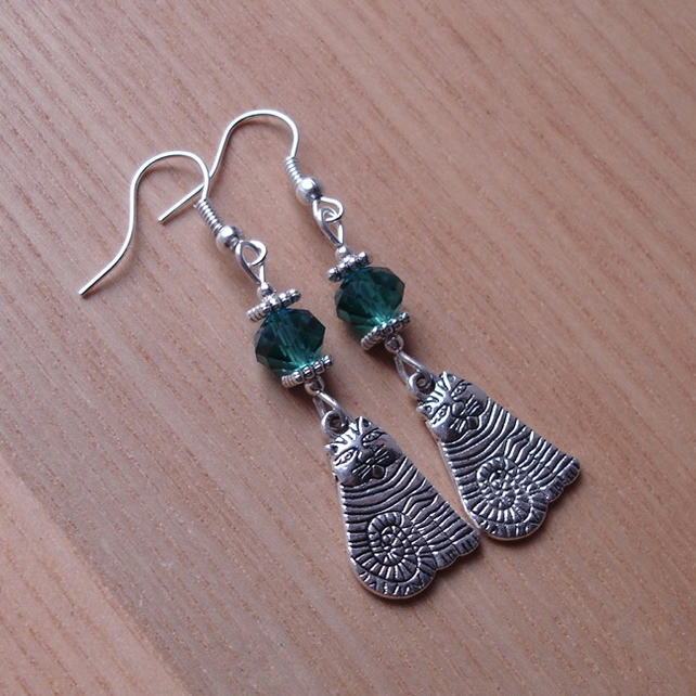 Teal Crystal Striped Cheshire Cat Charm Earrings - Gift for Her
