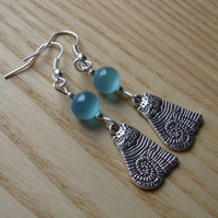 Turquoise Striped Cheshire Cat Charm Earrings - Gift for Her