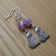 Lilac Striped Cheshire Cat Charm Earrings - Gift for Her