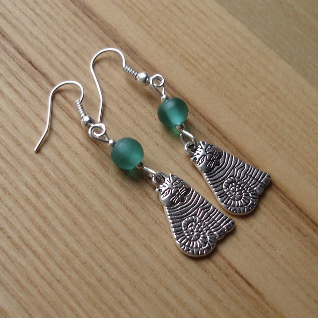 Teal Striped Cheshire Cat Charm Earrings - Gift for Her
