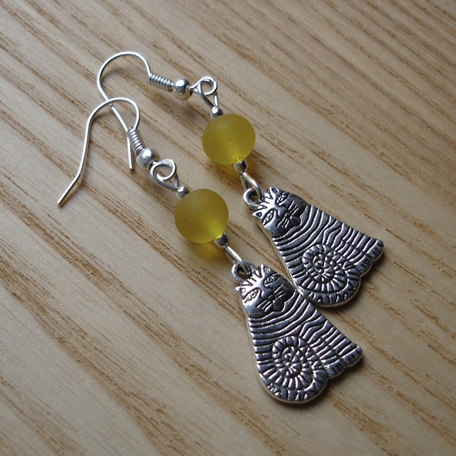 Yellow Striped Cheshire Cat Charm Earrings - Gift for Her