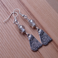 Clear Striped Cheshire Cat Charm Earrings - Gift for Her