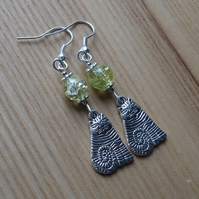 Lime Striped Cheshire Cat Charm Earrings - Gift for Her