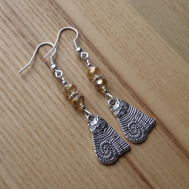 Champagne Striped Cheshire Cat Charm Earrings - Gift for Her