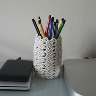 Pen Holder for Desk in Cream - Pencil Jar, Tidy, Pot - Yarn - Crochet Vase