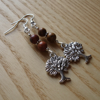 Natural Tree of Life Charm Bead Earrings Gift for Her Valentines