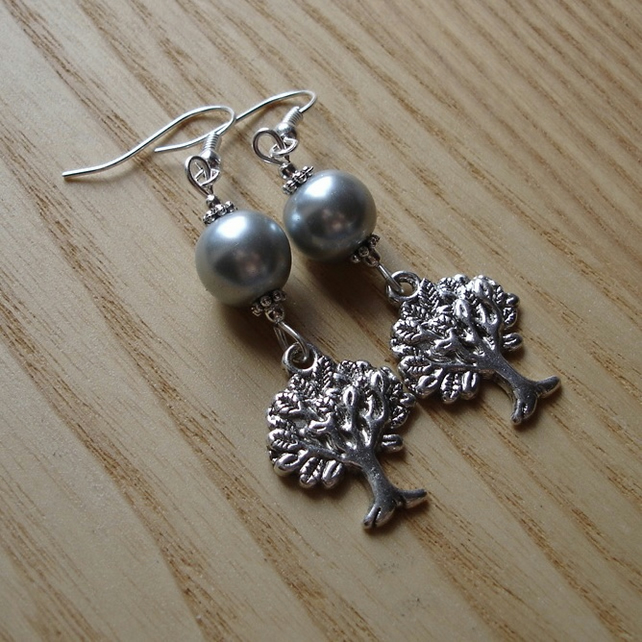 Silver Pearl Tree of Life Charm Bead Earrings Gift for Her Valentines