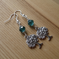 Teal Crystal Tree of Life Charm Bead Earrings Gift for Her Valentines