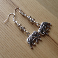 Grey Elephant Charm Bead Earrings Gift for Her Valentines