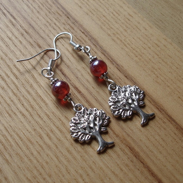 Red Tree of Life Charm Bead Earrings Gift for Her Valentines