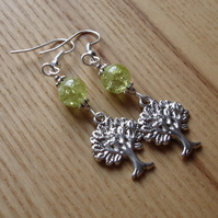 Lime Tree of Life Charm Bead Earrings Gift for Her Valentines