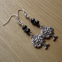 Black Tree of Life Charm Bead Earrings Gift for Her Valentines