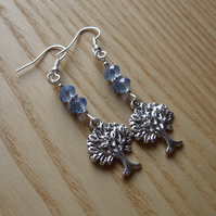 Baby Blue Tree of Life Charm Bead Earrings Gift for Her Valentines