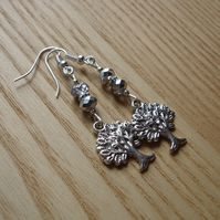 Grey Tree of Life Charm Bead Earrings Gift for Her Valentines