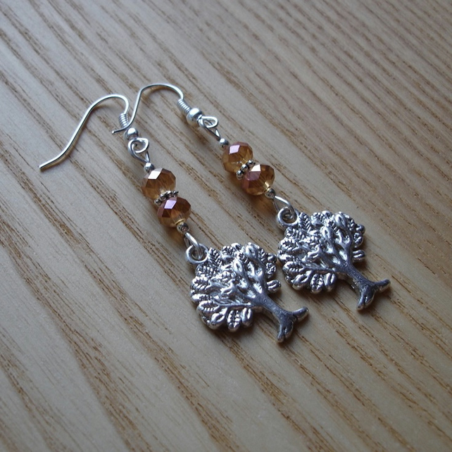 Champagne Tree of Life Charm Bead Earrings Gift for Her Valentines