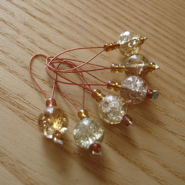 Honey Crackle Glass Bead Knitting Stitch Markers pack of 6