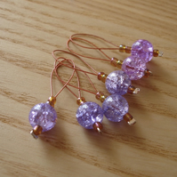 Lilac Crackle Glass Bead Knitting Stitch Markers pack of 6