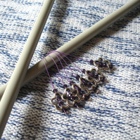 Large Purple Crystal Flower Bead Knitting Stitch Markers pack of 6