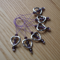 Large Purple Crystal Heart Bead Knitting Stitch Markers pack of 6