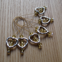 Large Yellow Crystal Heart Bead Knitting Stitch Markers pack of 6