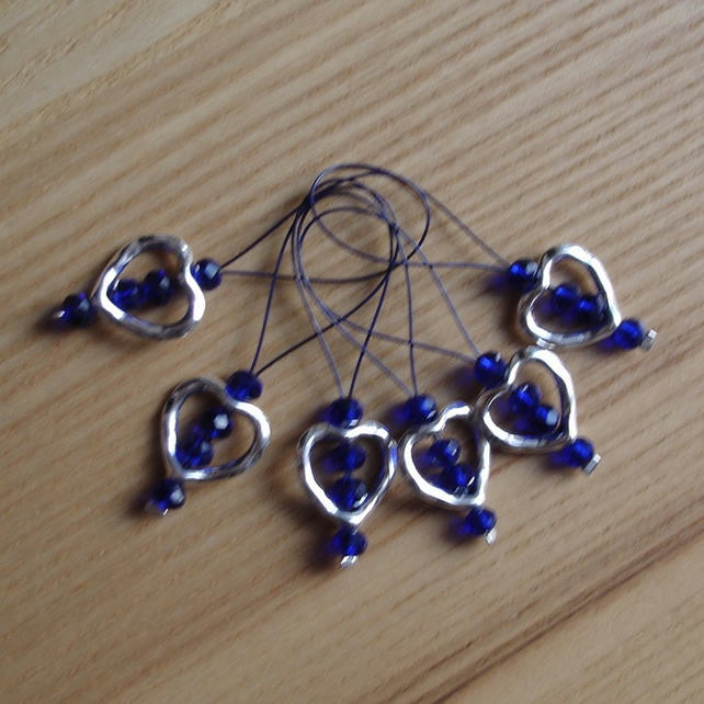 Large Dark Blue Crystal Heart Bead Knitting Stitch Markers pack of 6