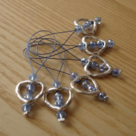 Large Light Blue Crystal Heart Bead Knitting Stitch Markers pack of 6