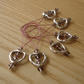 Large Pink and Grey Crystal Heart Bead Knitting Stitch Markers pack of 6