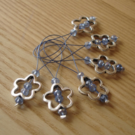 Large Pale Blue Crystal Flower Bead Knitting Stitch Markers pack of 6