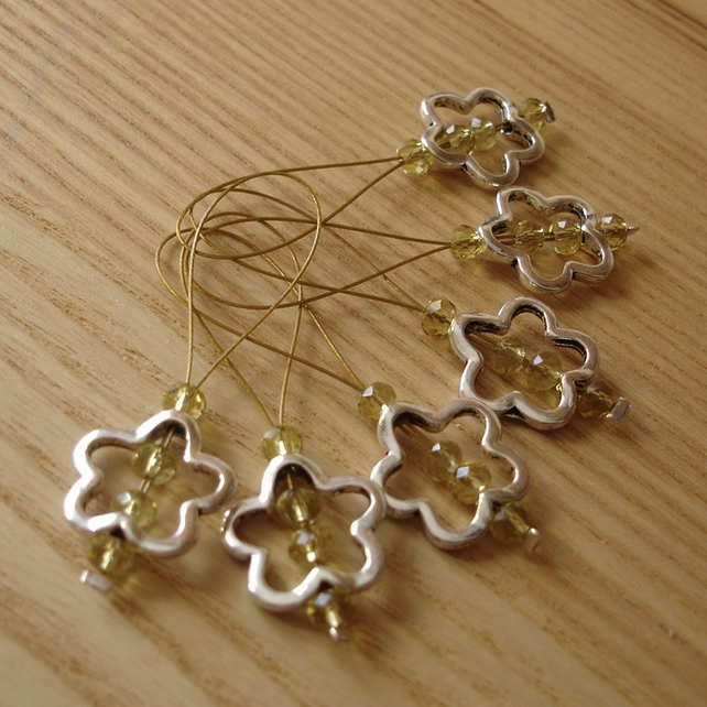 Large Yellow Crystal Flower Bead Knitting Stitch Markers pack of 6