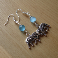 Turquoise Elephant Charm Bead Earrings Gift for Her Valentines