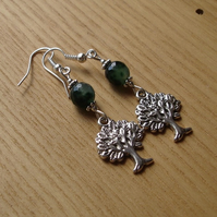 Green Tree of Life Charm Bead Earrings Gift for Her Valentines