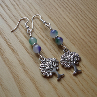 Mottled Tree of Life Charm Bead Earrings Gift for Her Valentines