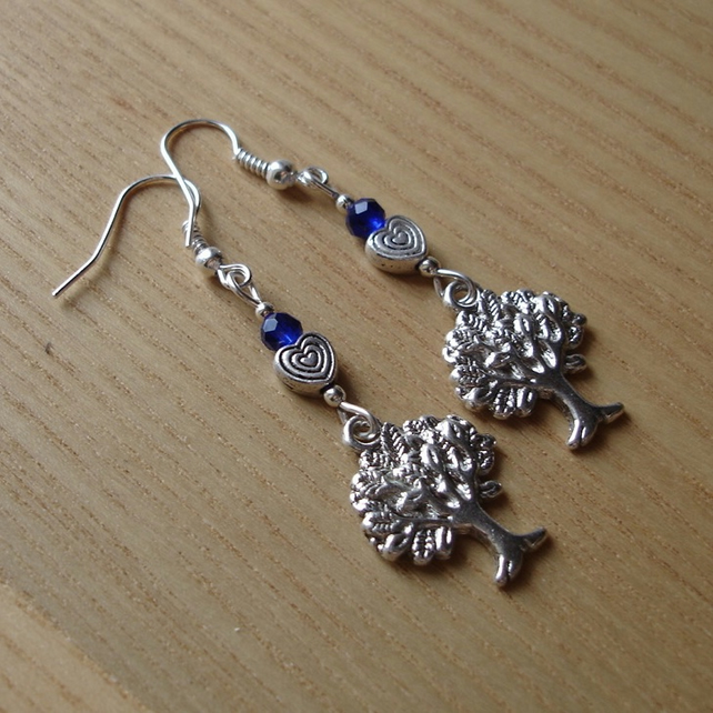 Blue Heart Tree of Life Charm Bead Earrings Gift for Her Valentines