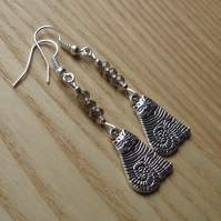 Ash Grey Striped Cheshire Cat Charm Earrings - Gift for Her