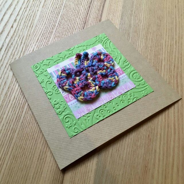 Green and Rainbow Crochet Butterfly Greetings Card