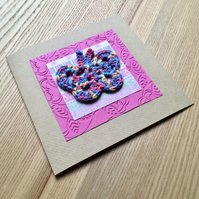 Pink and Rainbow Crochet Butterfly Greetings Card
