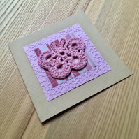 Pink Crochet Butterfly Greetings Card
