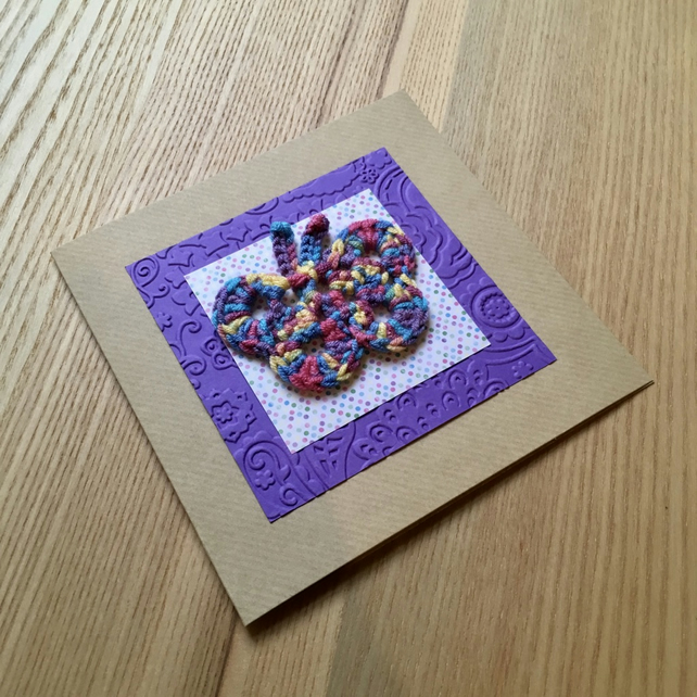 Purple and Rainbow Crochet Butterfly Greetings Card