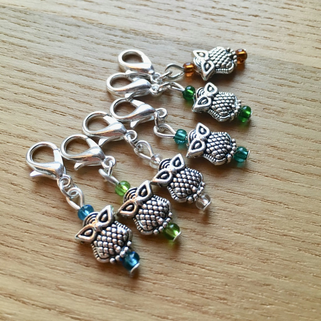 Woodland Owl Crochet Stitch Markers, Gift for Nature Lover