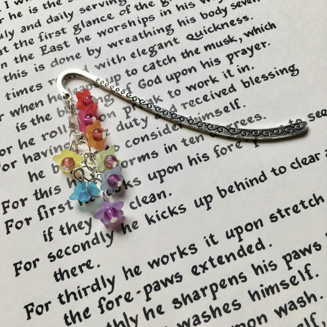 Rainbow Flowers Cluster Bookmark, Gift for Her, Mothers Day