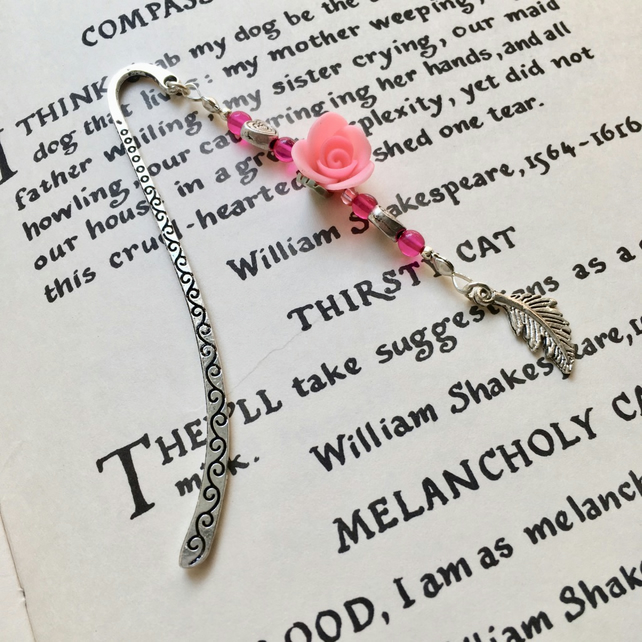 Pink Rose Bookmark, Gift for Her, Mothers Day