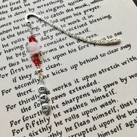 Red and White Rose Bookmark, Gift for Her, Mothers Day