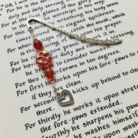 Red Heart Charm Bookmark, Gift for Her, Mothers Day