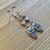 Purple Owl and Heart Charm Earrings, Gift for Her, Nature Lover Present