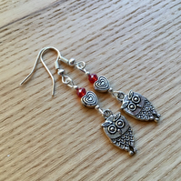 Red Owl and Heart Charm Earrings, Gift for Her, Nature Lover Present