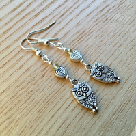 Champagne Yellow Owl and Heart Charm Earrings, Gift for Her Nature Lover Present