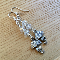 Clear Umbrella Charm Earrings, Gift for Sister or Mum