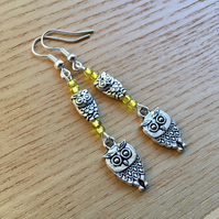 Yellow Owl Charm Earrings, Gift for Her, Nature Lover Present